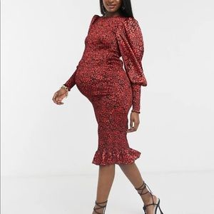 ASOS Maternity Red Leopard Cocktail dress